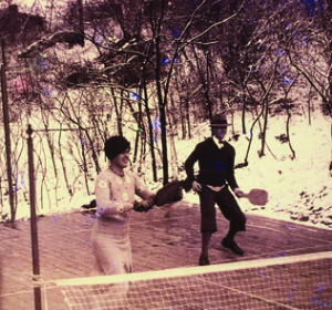 Mary Blanchard, in stylish cloche, teams with left-handed Earle Gatchell on the original Cogswell court