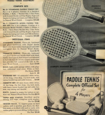 Price list for paddle tennis equipment, late 1930s