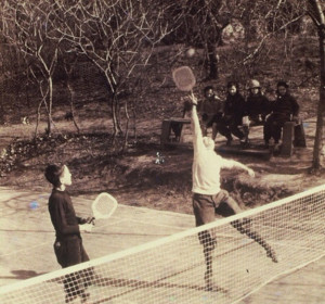 Horton Heath (left) and a friend practice at the original Cogswell court.