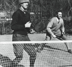 A cold winter day in 1930. Earle Gatchell (left) and Fessenden S. Blanchard on the first platform tennis court.