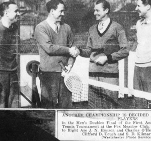 The 1935 Men's Champions Clifford D. Couch and S. D. Kilmarx on the right and finalists J. N. Hynson and Charles O'Hearn.