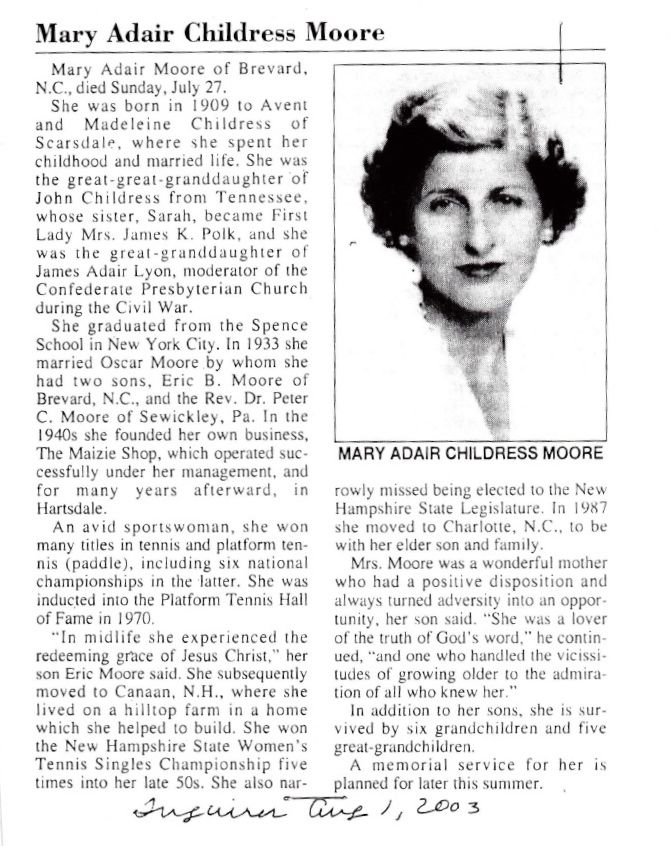 Maizie Moore obituary from Scarsdale Inquirer Aug 1, 2003