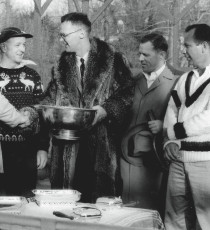 The awards presentation at the 1956 Men's Nationals (from left): George Harrison, Bill Pardoe, Ted Cook (APTA president and tournament chair), Don McNeill, and Herman Schaefer