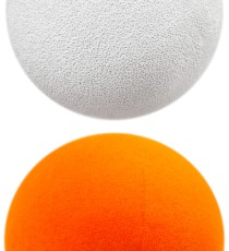 The orange ball was pioneered by John P. Ware using spray-on paint