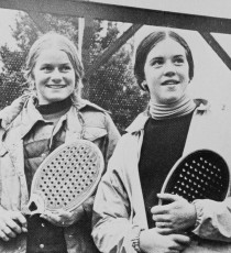 1976 Girls Fifteen and Under National Champions: Laura Parker and Becky Brown of FMTC