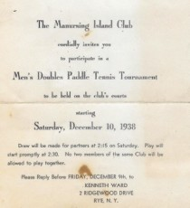 Invitation to Manursing Island Club's Men's Tournament