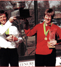 Sue Aery and Gerri Viant accept the trophy for the 2002 Women's Open National Champions. Moments later, Sue addresses the crowd and announces her retirement from platform tennis in order to pursue chiropractic school.